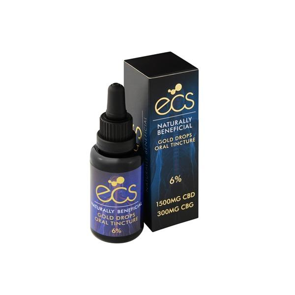 ECS Gold Drops Oral Tincture 6% 1500mg CBD 300mg CBG