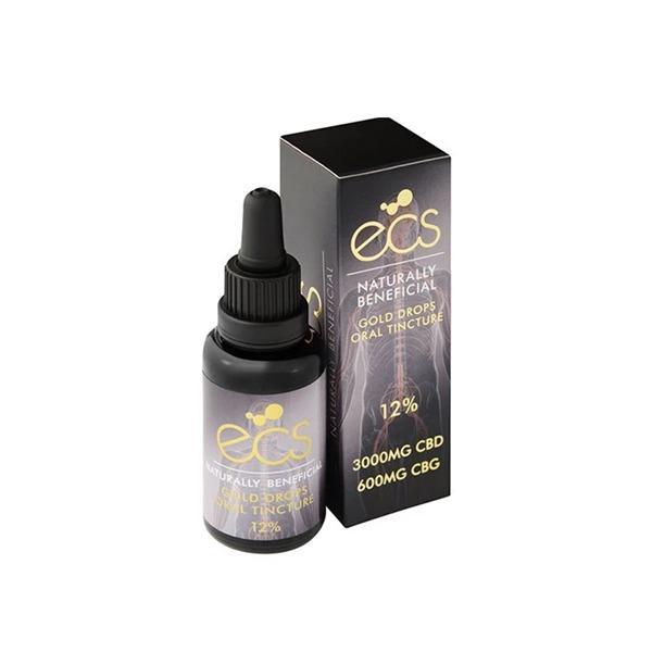 ECS Gold Drops Oral Tincture 12% 3000mg CBD 600mg CBG