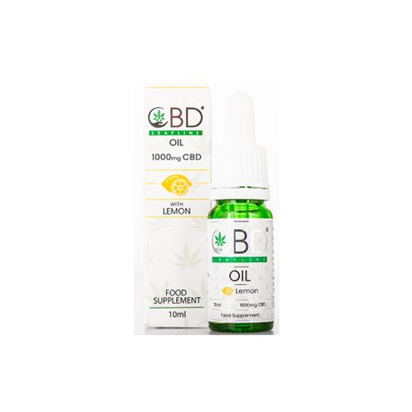 CBD Leafline 1000mg CBD Food Supplement Oil 10ml lemon