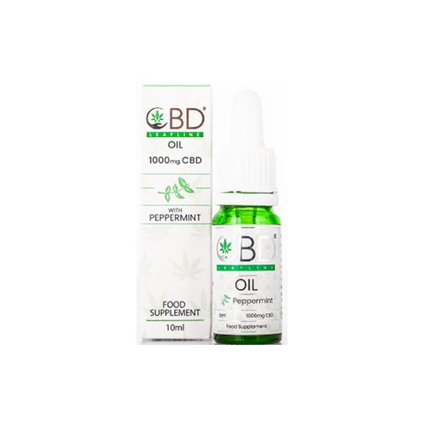 CBD Leafline 1000mg CBD Food Supplement Oil 10ml peppermint